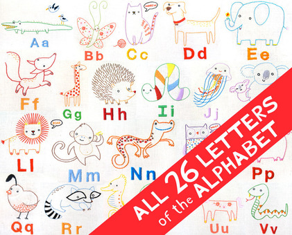 ALL 26 LETTERS Alphabet Animals hand embroidery - printable PDF files
