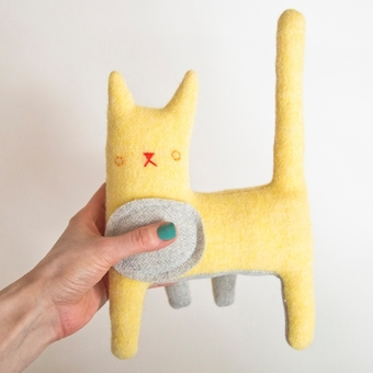 Kitty no.225 bright yellow wool with grey herringbone dot