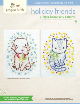 Holiday Friends puppy and kitty hand embroidery pattern