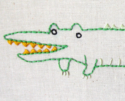A Alligator hand embroidery pattern - printable PDF file