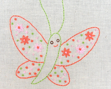 B Butterfly hand embroidery pattern - printable PDF file