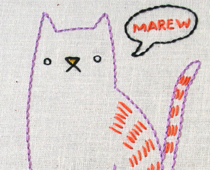 C Cat Hand Embroidery Pattern - Printable PDF File
