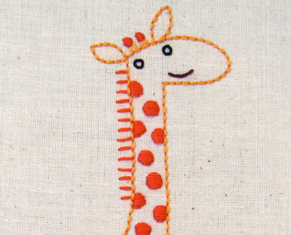G Giraffe hand embroidery pattern - printable PDF file