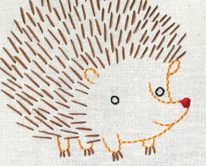 H Hedgehog hand embroidery pattern - printable PDF file