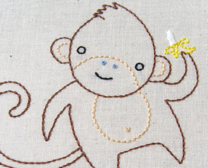 M Monkey hand embroidery pattern - printable PDF file