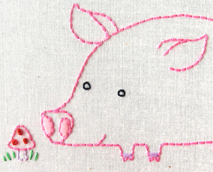 P Pig hand embroidery pattern - printable PDF file