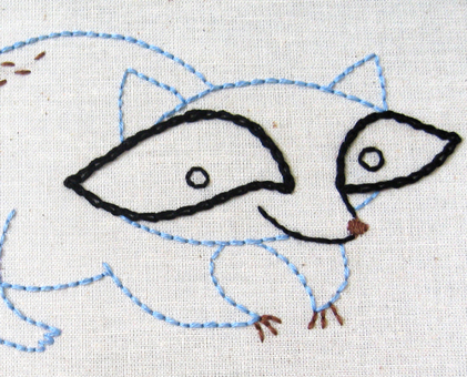 R Raccoon hand embroidery pattern - printable PDF file