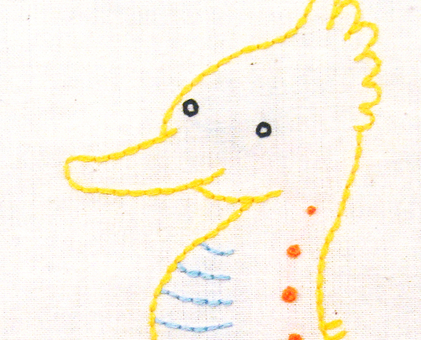S Seahorse hand embroidery pattern - printable PDF file