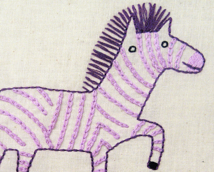 Z Zebra hand embroidery pattern - printable PDF file