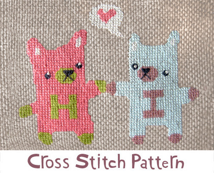 Hi Bears cross stitch pattern - printable PDF file