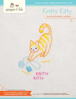 Knitty Kitty PDF embroidery pattern