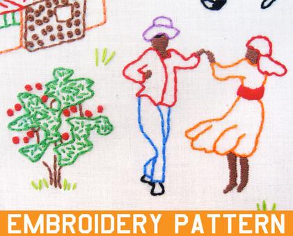 Haiti Sampler hand embroidery pattern - printable PDF file