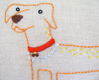 D Dog hand embroidery pattern - printable PDF file