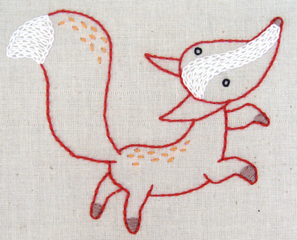 F Fox hand embroidery pattern - printable PDF file