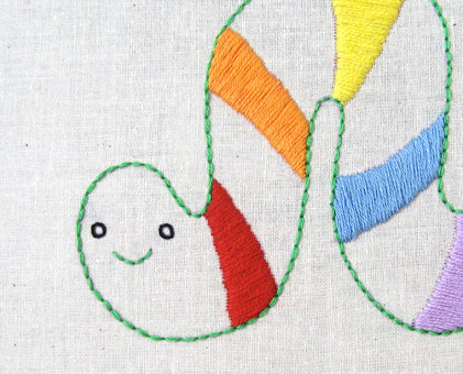 i Inchworm hand embroidery pattern - printable PDF file