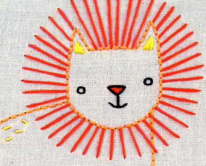 L Lion hand embroidery pattern - printable PDF file