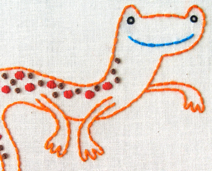 N Newt hand embroidery pattern - printable PDF file