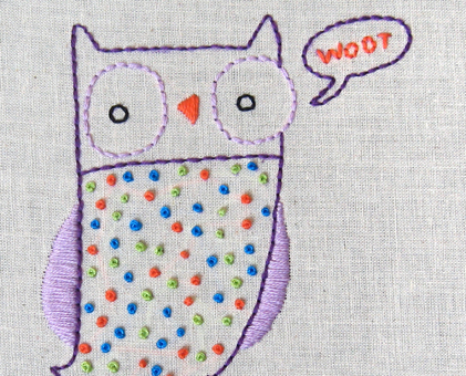 O Owl hand embroidery pattern - printable PDF file