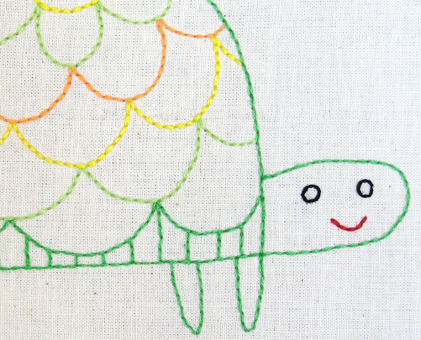 T Turtle hand embroidery pattern - printable PDF file