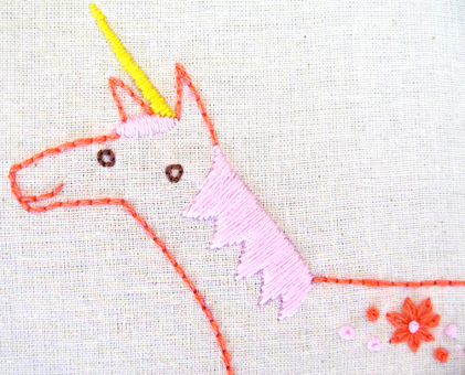U Unicorn hand embroidery pattern - printable PDF file