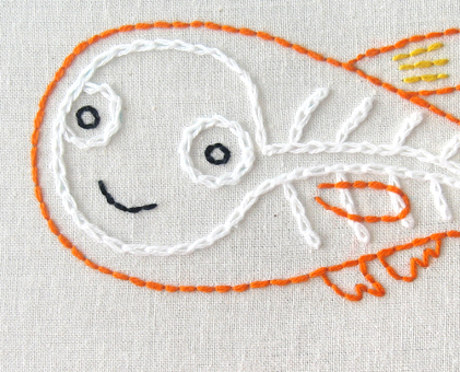 X Xray Fish hand embroidery pattern - printable PDF file