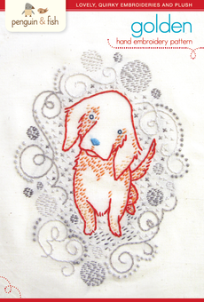 Golden Puppy hand embroidery pattern - printable PDF file