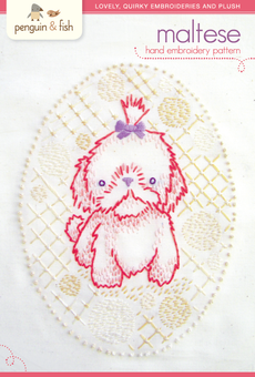 Maltese Puppy hand embroidery pattern - printable PDF file