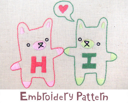 Hi Bears hand embroidery pattern - printable PDF file
